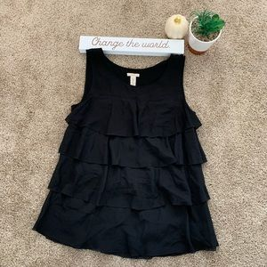 J Crew Silk Black Ruffle Tank Top